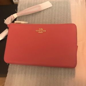 Sold! NEW Coach Pink Double Zip Large Wristlet